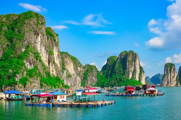 Fishing village in Halong Bay