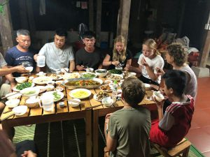 Guest's enjoying family dinner in Ba Be National Park
