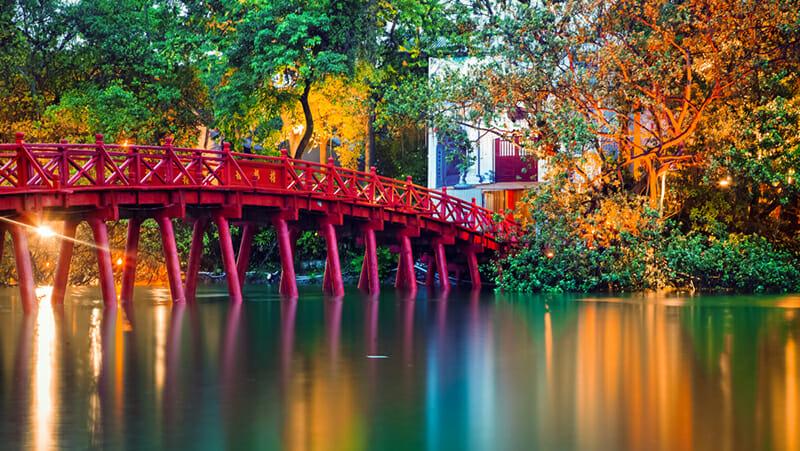 Iconic red bridge in Hanoi