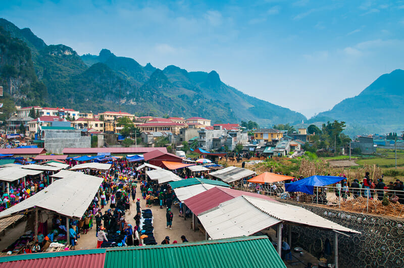 View of Dong Van Sunday Market