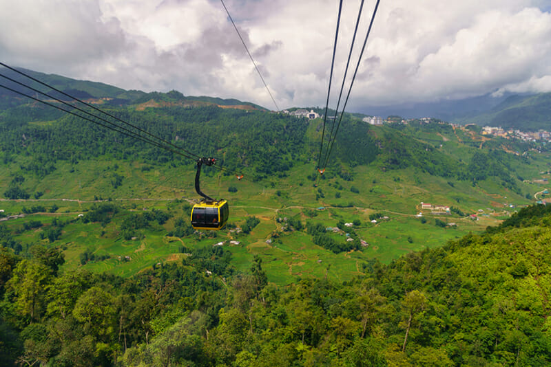 Views to Sapa area from Fansipan cable car