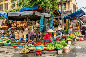 Traditional Street Market in Hoi An Vietnam