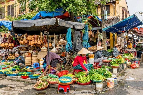 Traditional Street Market in Hoi An Vietnam